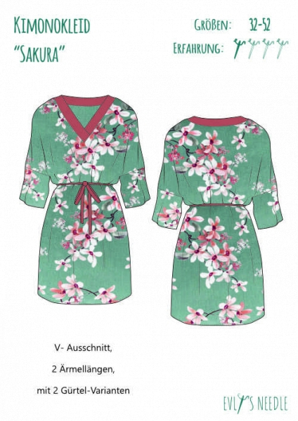 A0-PDF-Datei-Schnittbogen SAKURA Kimono-Kleid