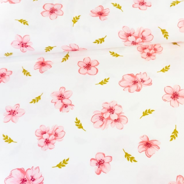 Modaljersey Cherry Blossom weiß Ökotex 100 100% Vegan