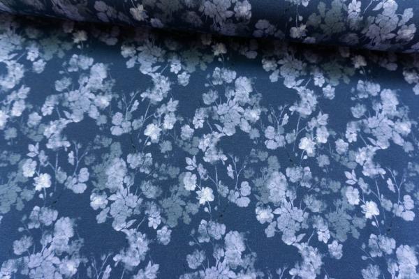 Baumwolljersey Digital Florescence dunkelblau Ökotex 100