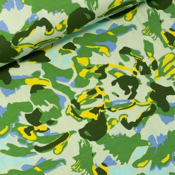 Baumwolljersey Abstrakte Figuren oliv