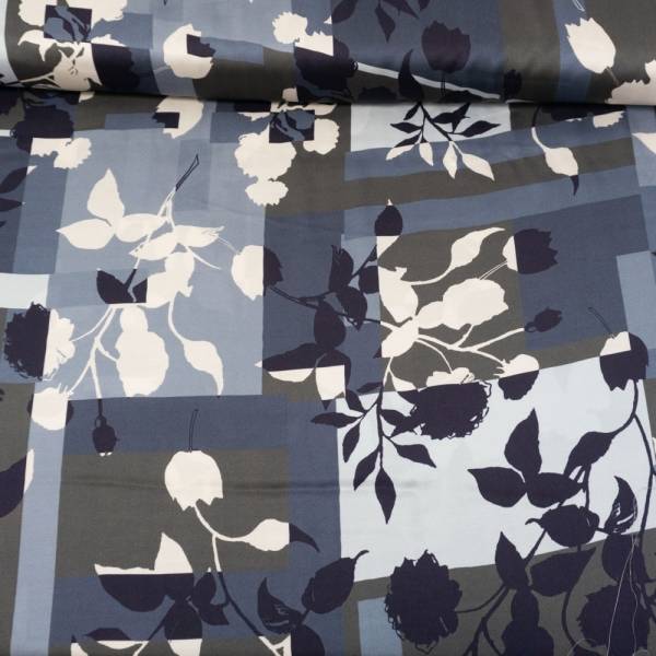 Viskosesatin Italienische Kollektion Rosen Im Schatten grau