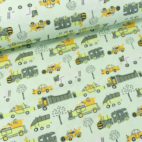 Baumwollwebware Animals and Cars helles grün