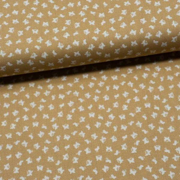 Baumwollwebware Mini Schmetterlinge beige