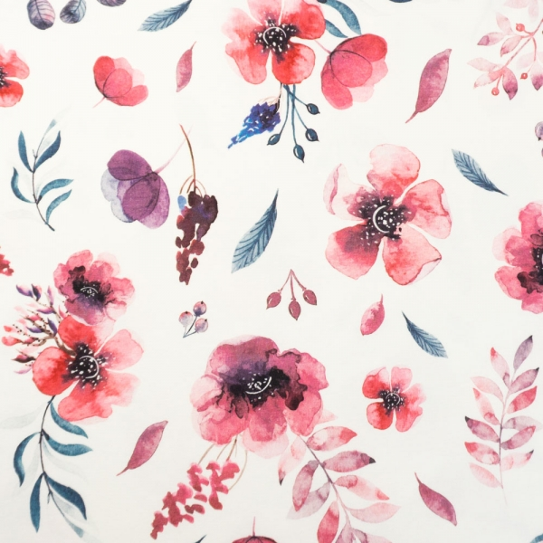 Bio-Baumwolljersey Berry Bloom weiß