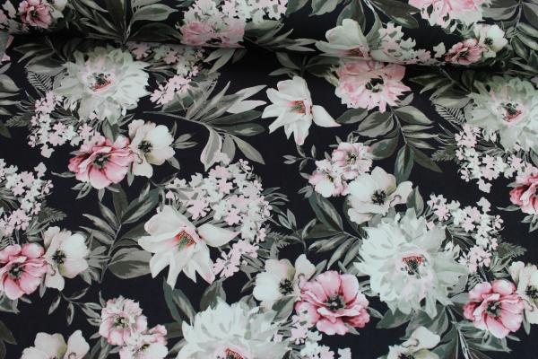 Elastische Baumwolle Blumenwelt Poplin Stretch Öko Tex 100