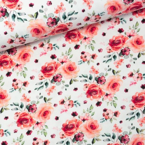 Baumwolljersey Digital Romantische Rosen weiß