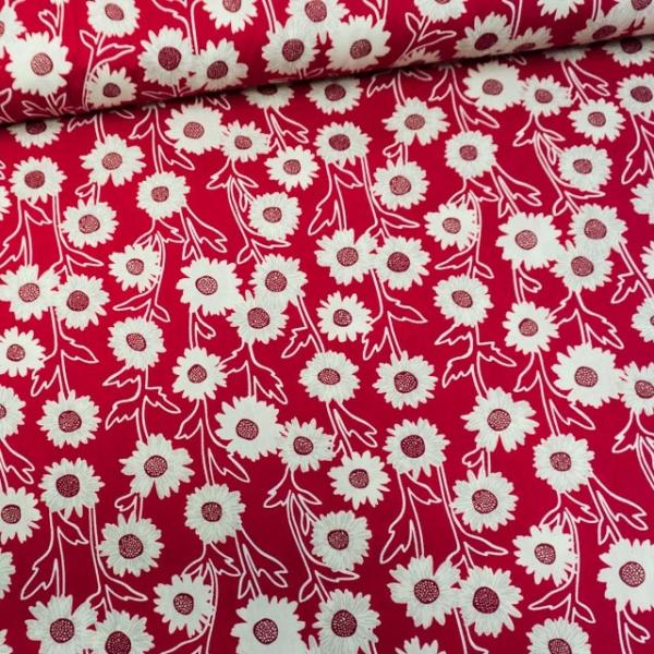 Baumwollwebware Sonnenblume rot