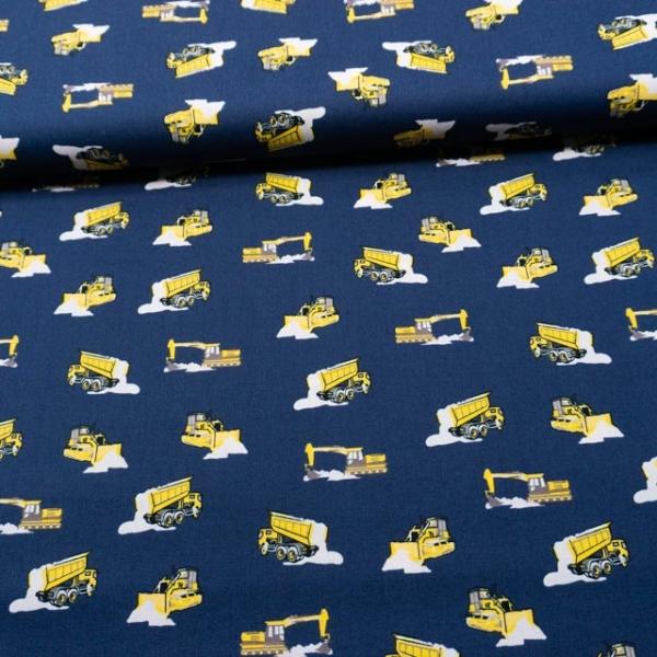 Baumwollwebware Baufahrzeuge navy