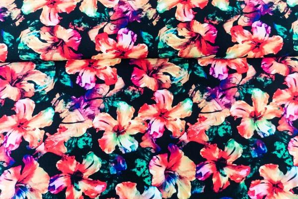 Viskose Aquarell Blume schwarz Ökotex 100