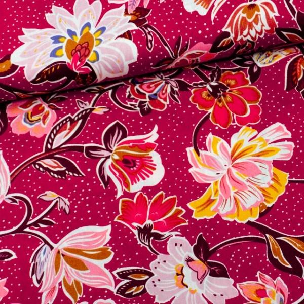 Baumwollwebware Oriental Flowers bordeaux