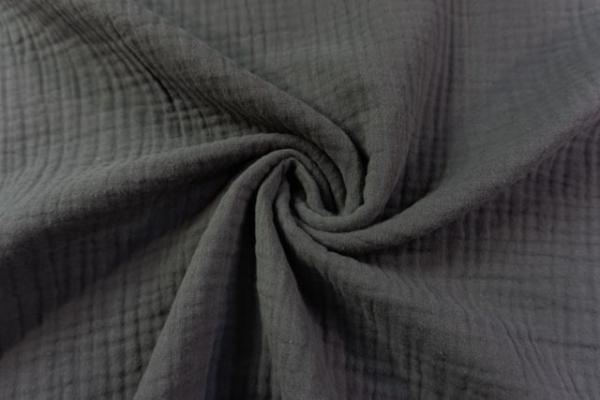 Musselin SCHWER Triple Gauze Uni mittelgrau 100% Baumwolle Ökotex 100