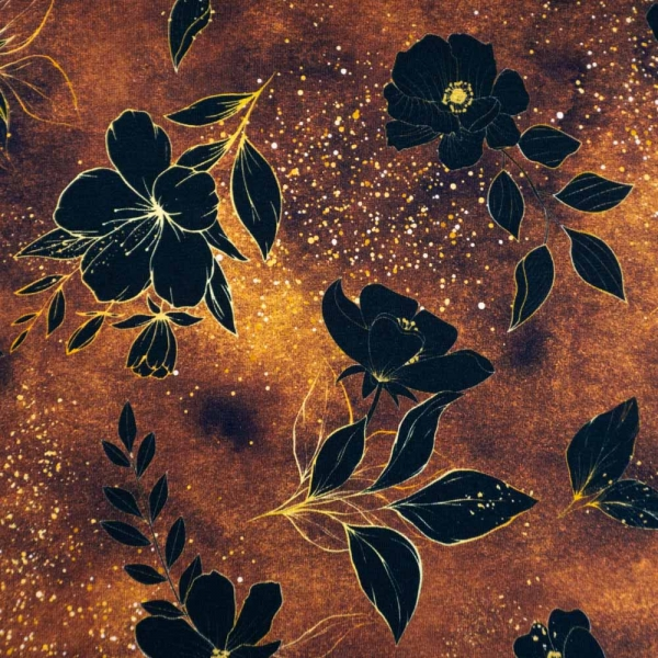 Bio-Baumwolljersey Melange Blackflower senfgelb