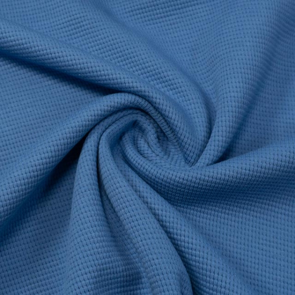 Waffelstrick Jersey Uni jeansblau