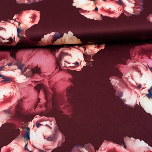 Jersey Soft Skin Great Flowers bordeaux