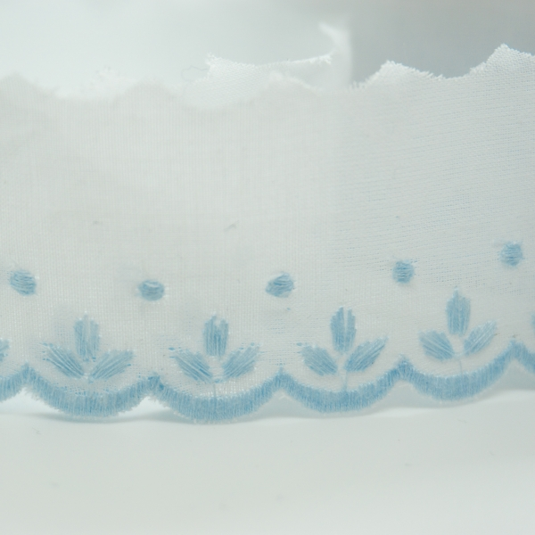 Baumwoll Spitzenborte Sprösslinge hellblau 3,5cm