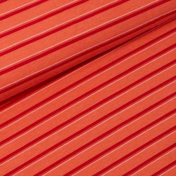 Baumwolljersey Stripes orange-coral