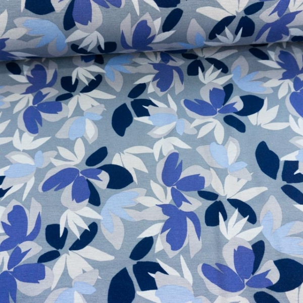 Alpensweat Flowers Jeansblau Ökotex 100