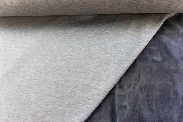 Alpenfleece Sweat Meliert mittelgrau Ökotex 100 - ohne Polyester -