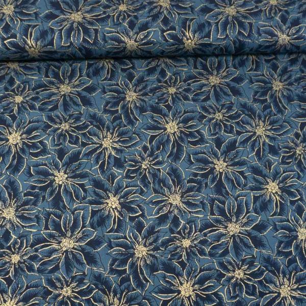 Baumwollwebware Christmas Star Plant jeansblau