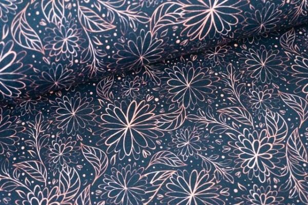 Bio-Baumwolljersey Pretty Fine Blossom rosegold Ökotex 100