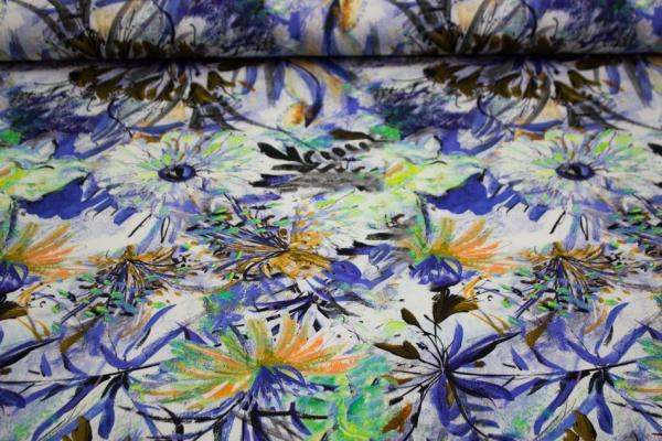 Baumwolljersey Pastel Blume blau-mint Öko Tex 100