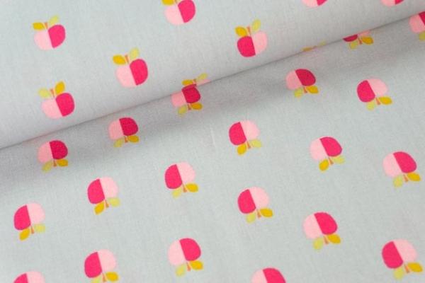 Baumwollwebware Popeline Rainbowäpfel grau Ökotex 100