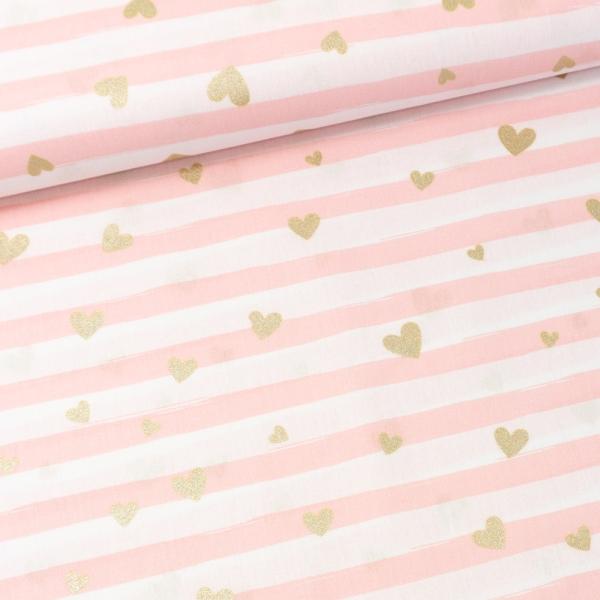 Baumwollwebware Glitter Heart weiß-rosa