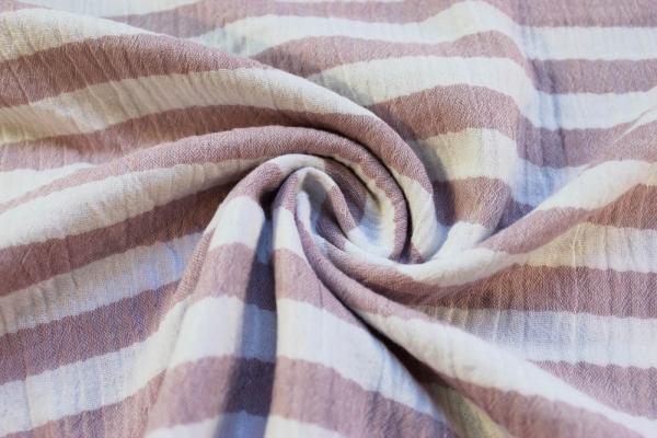Musselin Double Gauze Stripes altrosa 100% Baumwolle Ökotex 100