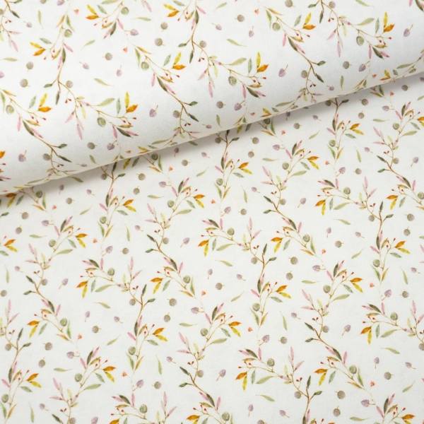 Viskosejersey Digital Small Leaves weiß