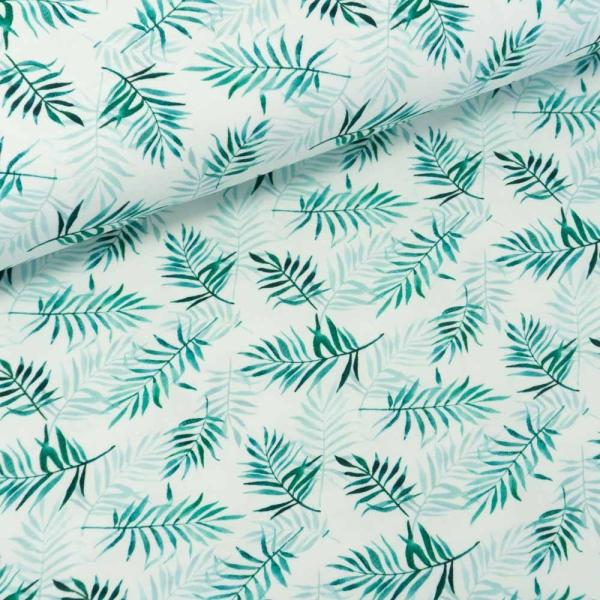 Baumwolljersey Digital Palmblätter weiß