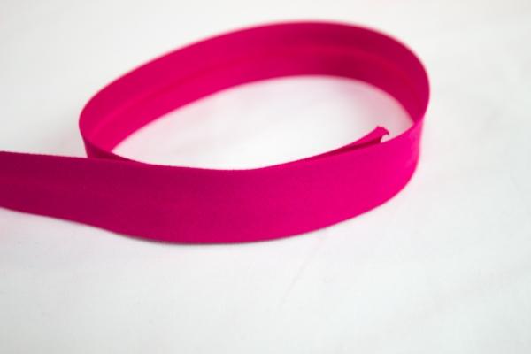 Elastisches Schrägband vorgefalzt pink Ökotex 100