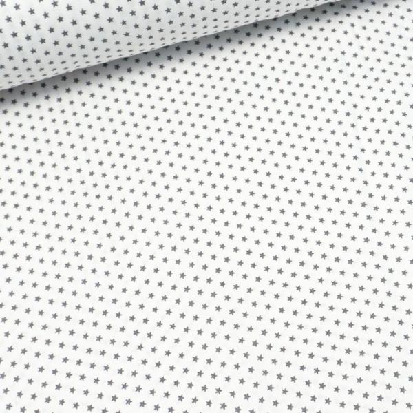 Baumwollwebware Mini Sterne weiß-hellgrau