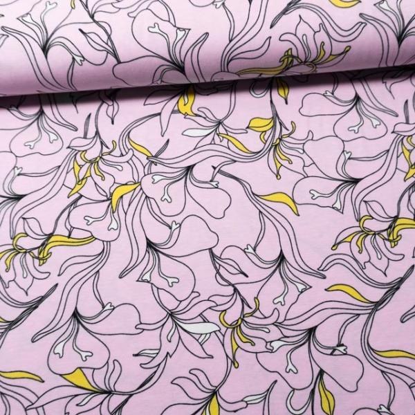 Baumwolljersey Orchidee Grafisch rosa