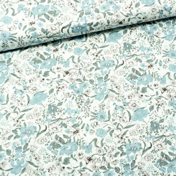 Baumwollwebware Flowery weiß-dusty mint