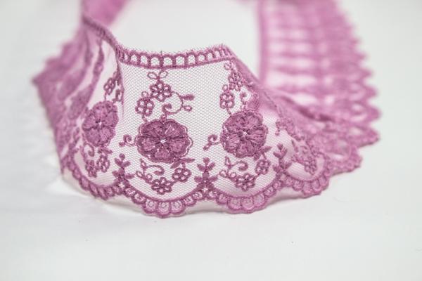 Bestickte Spitzenborte Große Blume pink 6cm Ökotex 100