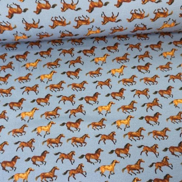 Sweat French Terry Kleine Pferde dusty blue Ökotex 100