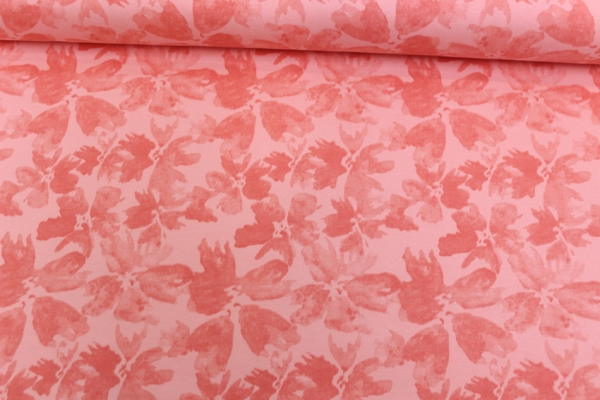 Kuschelsweat Wasserblume coral rose angeraut Öko Tex 100