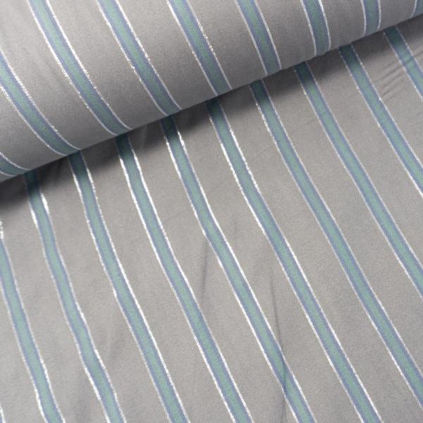Viskosetwill Längsgestreift Glam silver grau-dusty mint