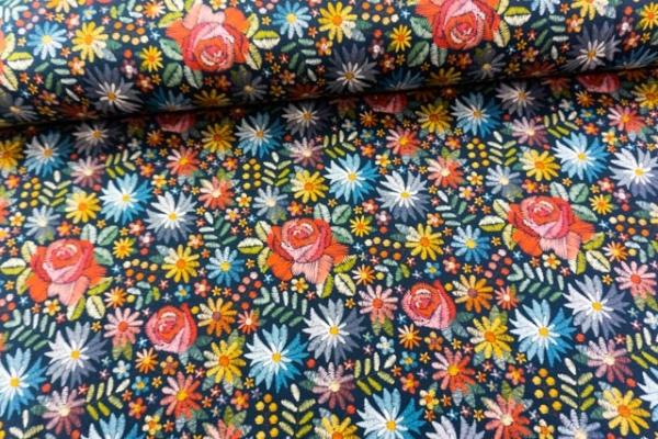 Baumwolljersey DIGITAL Embroidery Flowers navy Ökotex 100