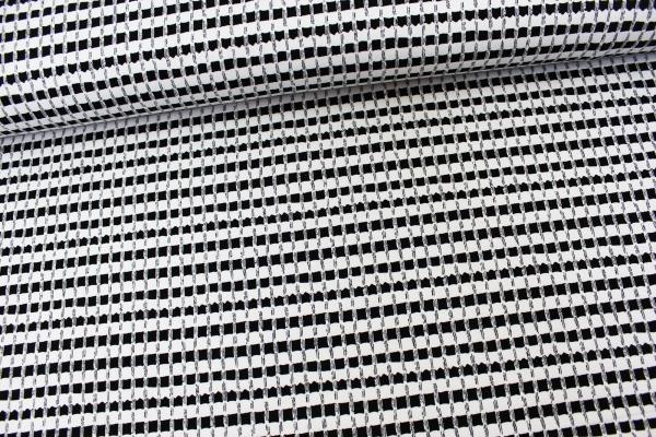 Viskosejersey Black and White Quadrate Ökotex 100