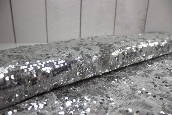 Pailletten- Baumwollsamt silber