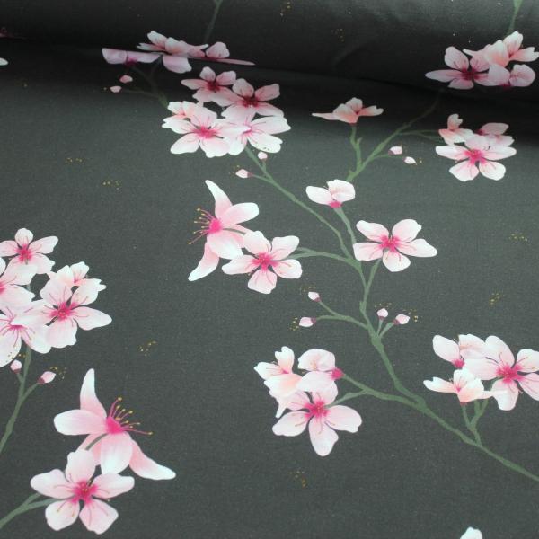 Baumwolljersey Kirschblüten anthra Ökotex 100