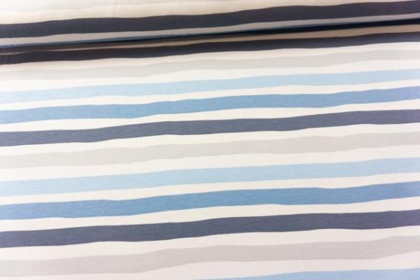 Baumwolljersey STRIPES jeans-blau-grau Ökotex 100