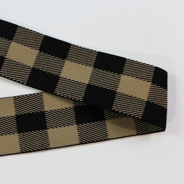 Gummiband Checks schlamm - schwarz 40mm Ökotex 100