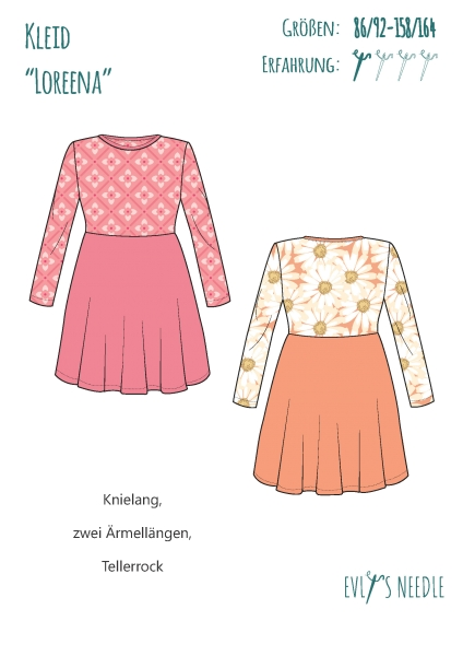 Papierschnitt LOREENA Mädchen-Kleid
