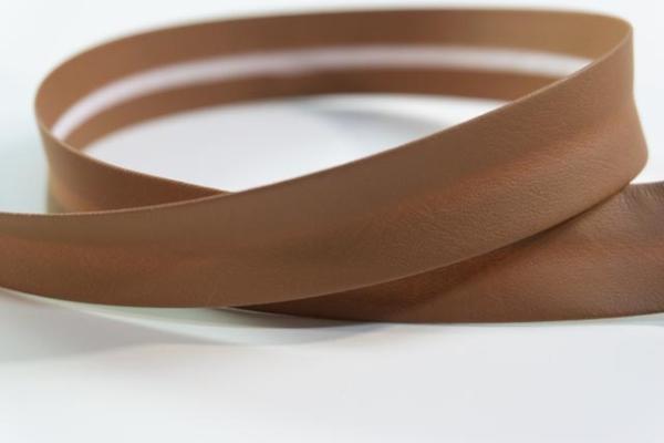 Kunstleder Schrägband 18mm breit vorgefalzt cognac Ökotex 100