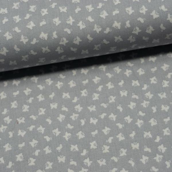 Baumwollwebware Mini Schmetterlinge grau