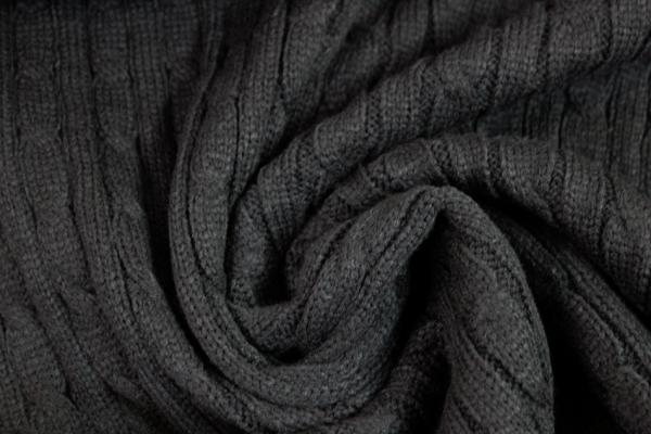 Kuschelstrick Zopfmuster schwarz Ökotex 100