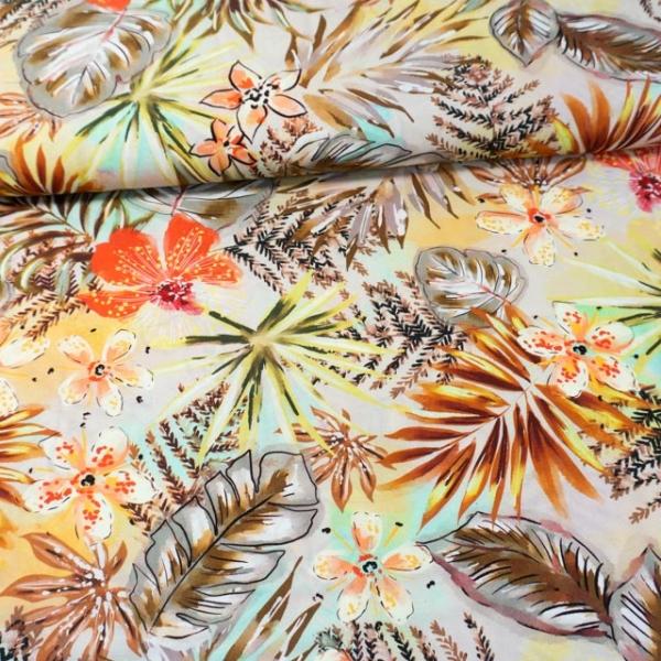 Viskosewebware Hawaii Flowers beige