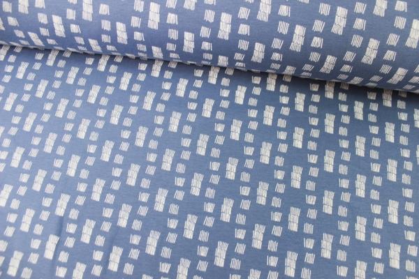Kuschelsweat Funky Stripes jeansblau angeraut Ökotex 100